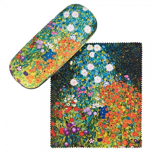 Brillenetui Hardcase Set mit Putztuch Gustav Klimt: Bauerngarten