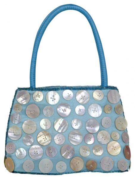 Abendhandtasche Handtasche Satin Knopfdesign aqua