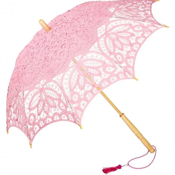 Spitzenschirm Sonnenschirm Brautschirm Hochzeitsschirm Vivienne, pink