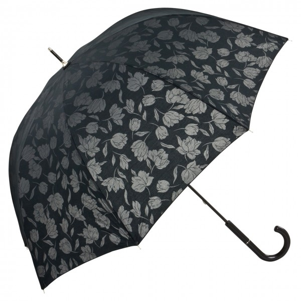 Regenschirm mit Rosenmotiv Mélodie schwarz