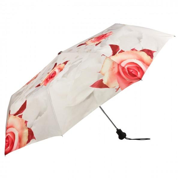 Taschenschirm Motiv Rosen creme Auf-Automatik