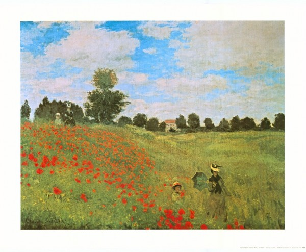 Umbrella Automatic Art Claude Monet: Field of Poppies