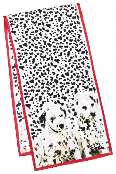 Long Silk Scarf Dogs Satin Dalmatians