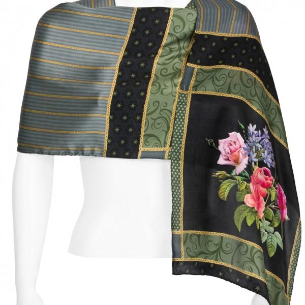 Seidenschal Satin lang 172 x 42 cm Eva Maria Nitsche: Bonny Bouquet