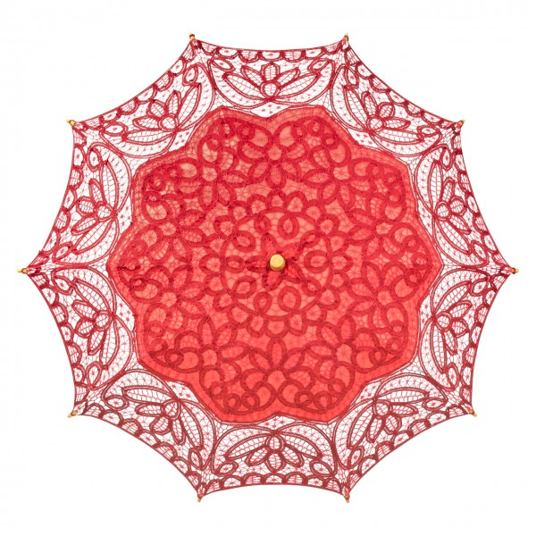 "Lace umbrella ""Vivienne"", red"