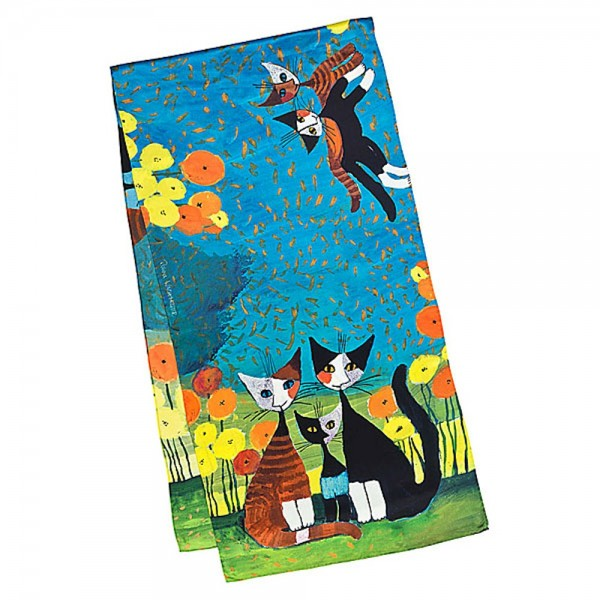 Long Silk Scarf Art Cats Rosina Wachtmeister: All Together