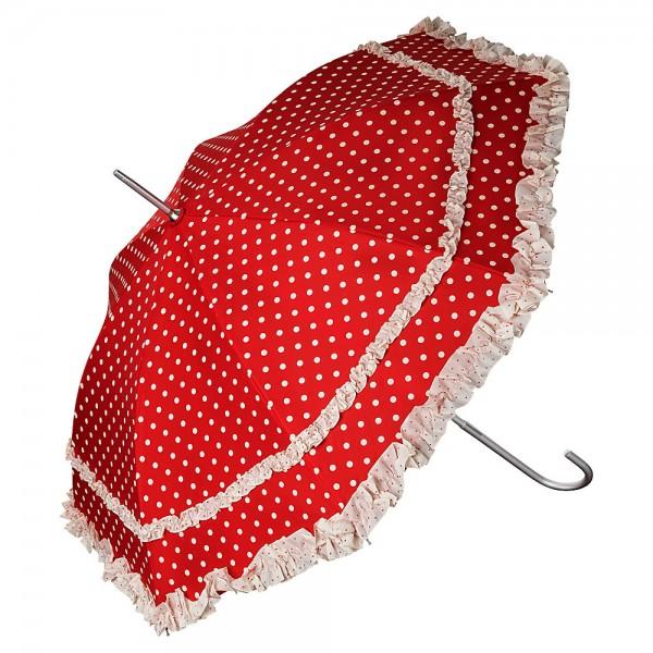 Regenschirm Auf-Automatik Mary rot mit Punkten