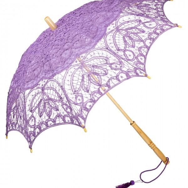 Spitzenschirm Sonnenschirm Brautschirm Hochzeitsschirm Vivienne, violett