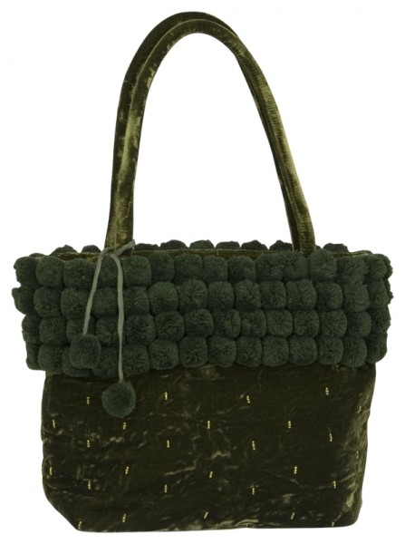 Abendhandtasche Handtasche grüner Samt Pompons