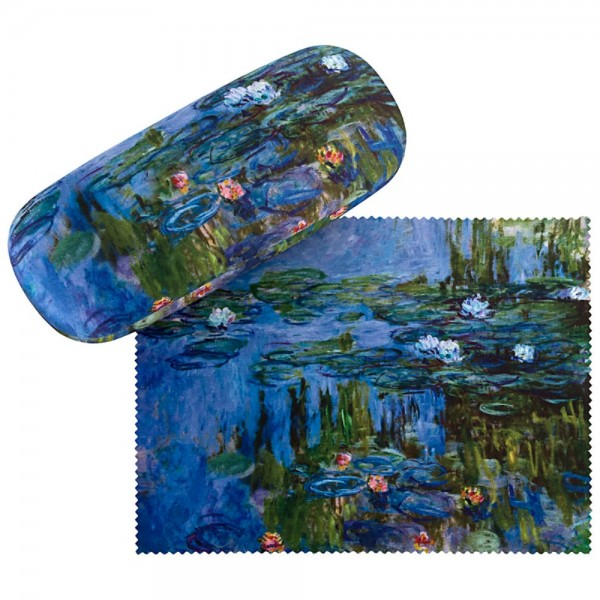 Brillenetui Hardcase Set mit Putztuch Kunst Claude Monet: Seerosen
