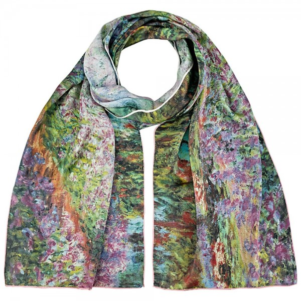 Long Silk Scarf Satin Claude Monet: The Garden