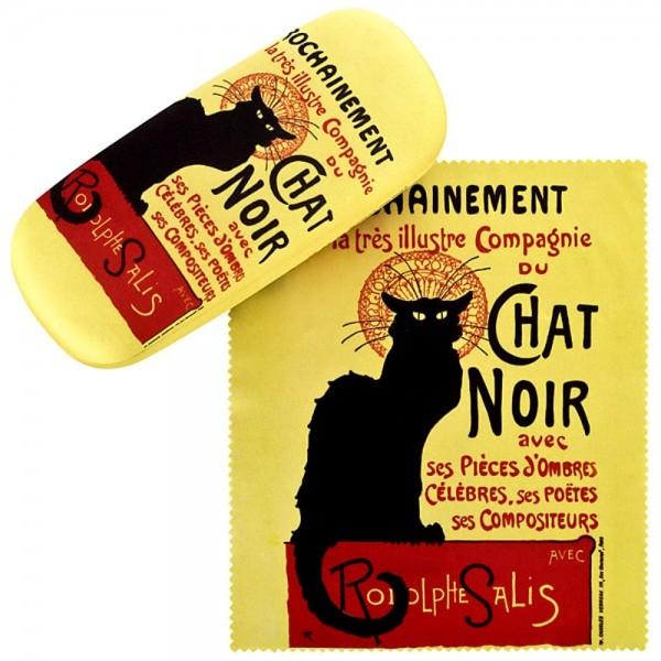 Brillenetui Set mit Putztuch Kunst Katze Chat Noir