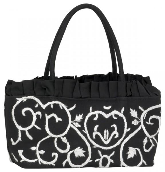 Abendhandtasche Handtasche Baguetteform schwarz/weiß