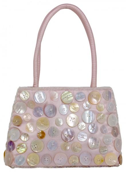 Abendhandtasche Handtasche Satin Knopfdesign rosa