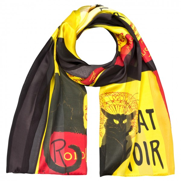 Seidenschal Satin lang 172 x 42 cm Chat Noir
