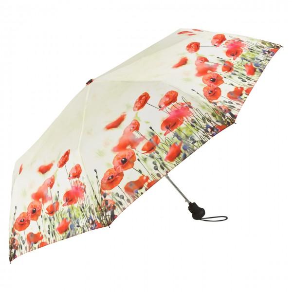 Taschenschirm Blumen Motiv Mohnblumen Auf-Automatik