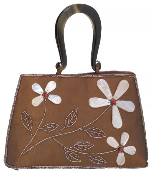 Abendhandtasche Handtasche Seide braun Blumenmuster