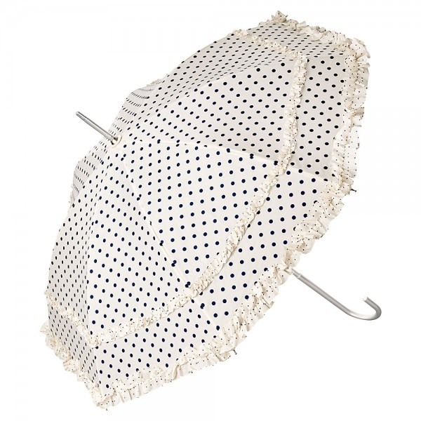 Automatic umbrella Mary ivory with polka dots