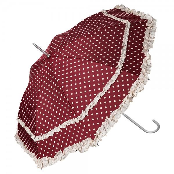 Automatic umbrella Mary iburgundy with polka dots