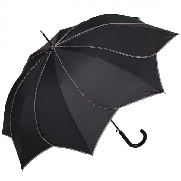 Regenschirm Automatik Minou, schwarz mit grauen Ziernähten