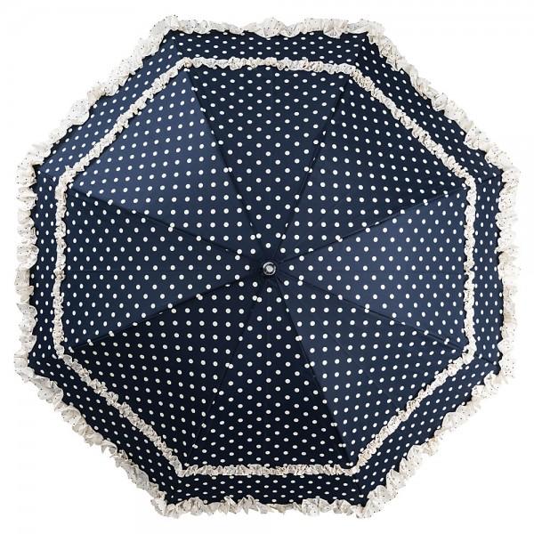 Regenschirm Auf-Automatik Mary blau mit Punkten