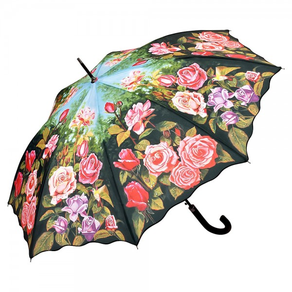 Umbrella Automatic Flower Rose Garden