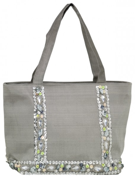 Handbag small Grey Silk