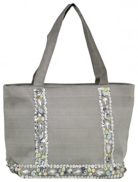 Abendhandtasche kleine Handtasche Seide grau