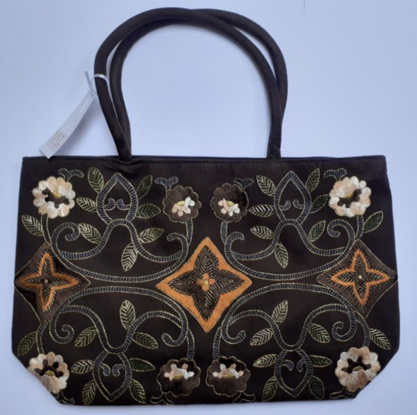 Abendhandtasche Handtasche Velour braun Stickerei