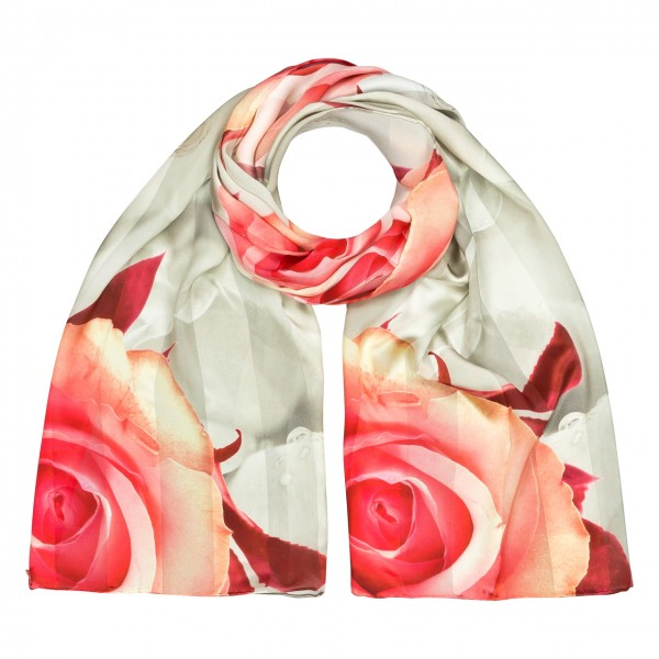 Long Silk Scarf, Satin Roses, creme