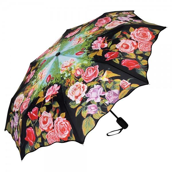 Taschenschirm Motiv Blumen Rosengarten, Auf-und-Zu Automatik