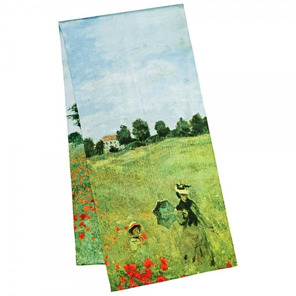 Long Silk Scarf Satin Claude Monet: Field of Poppies