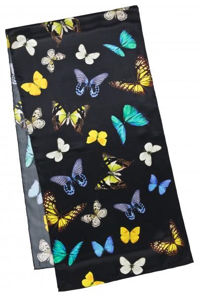 Seidenschal Satin lang 172 x 42 cm Schmetterlingstanz