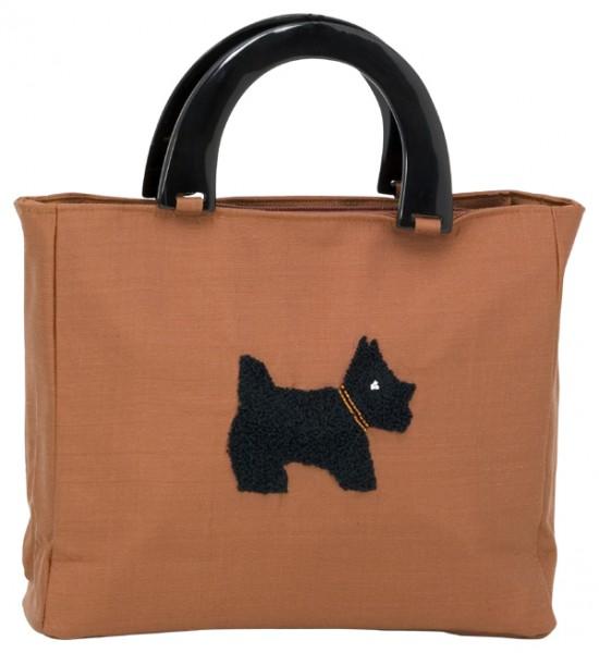 Abendhandtasche Handtasche braune Seide Hund Scottisch Terrier