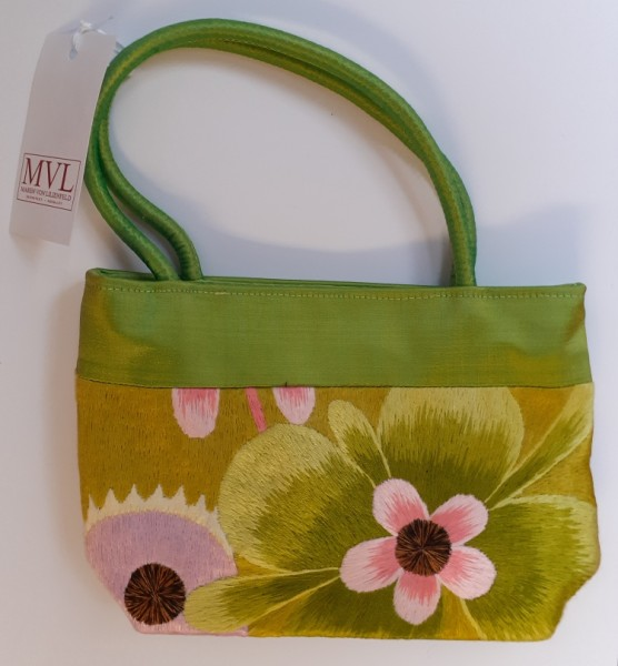 Handbag Satin Flowers green