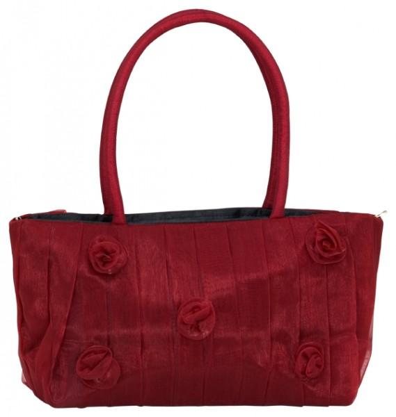 Abendhandtasche Handtasche Organza rot