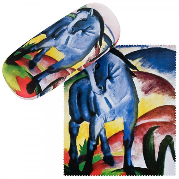 Brillenetui Hardcase Set mit Putztuch Kunst Franz Marc: Blaues Pferd