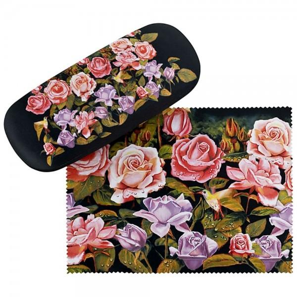 Brillenetui Hardcase Motiv Blumen Rosengarten