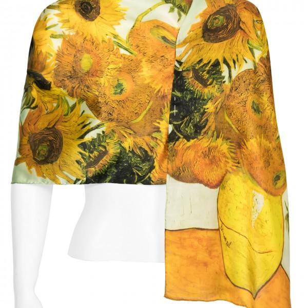 Seidenschal Satin lang 172 x 42 cm Vincent van Gogh: Sonnenblumen