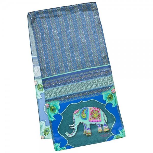 Long Silk Scarf Satin Eva Maria Nitsche: Blue Elephant