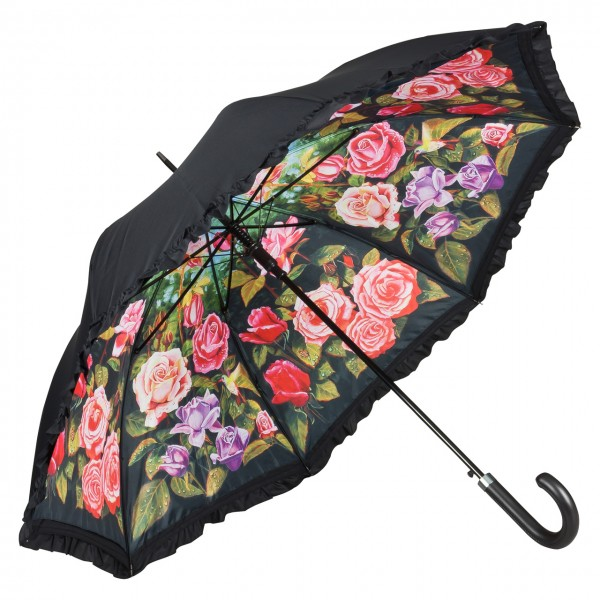 Umbrella Automatic Motif Flowers Rose Garden, Double Layer