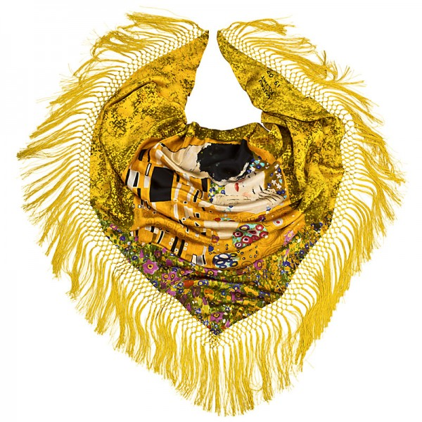 Dreieckstuch Seide 160 x 110 cm Gustav Klimt: Der Kuss
