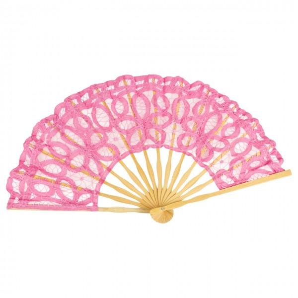 Lace fan Carmen, pink