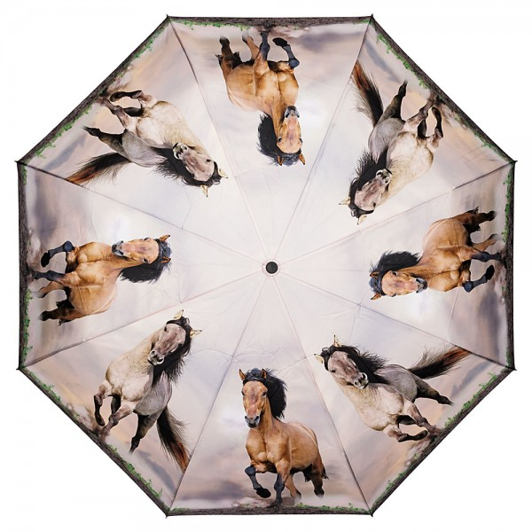 Folding pocket umbrella auto-open-close telescopic Wild Horses