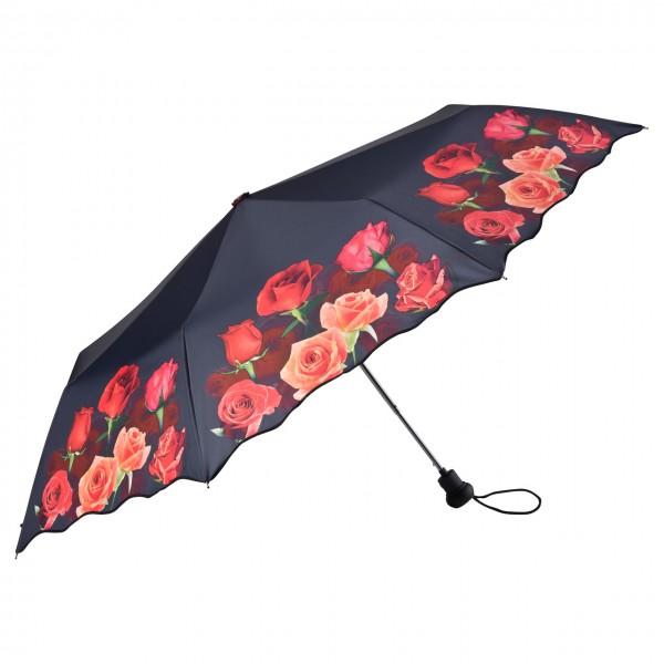 Taschenschirm Motiv Blumen Rosenbouquet, Auf-Automatik