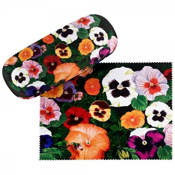 Brillenetui Set mit Putztuch Blumen Stiefmütterchen
