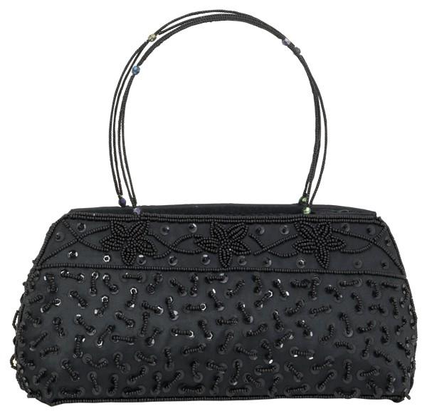 Abendhandtasche Handtasche Satin schwarz