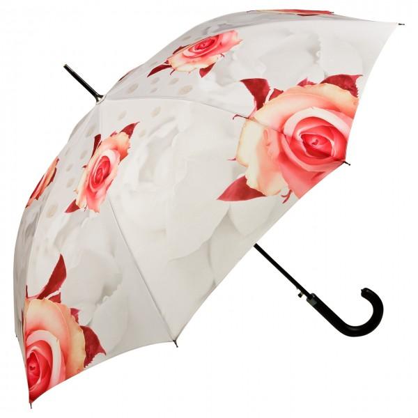 Regenschirm Automatik Motiv Rosen, creme