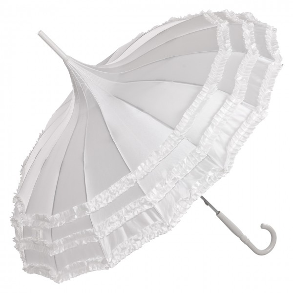 "Regenschirm Sonnenschirm Pagode ""Amelie"", Satin, weiß"