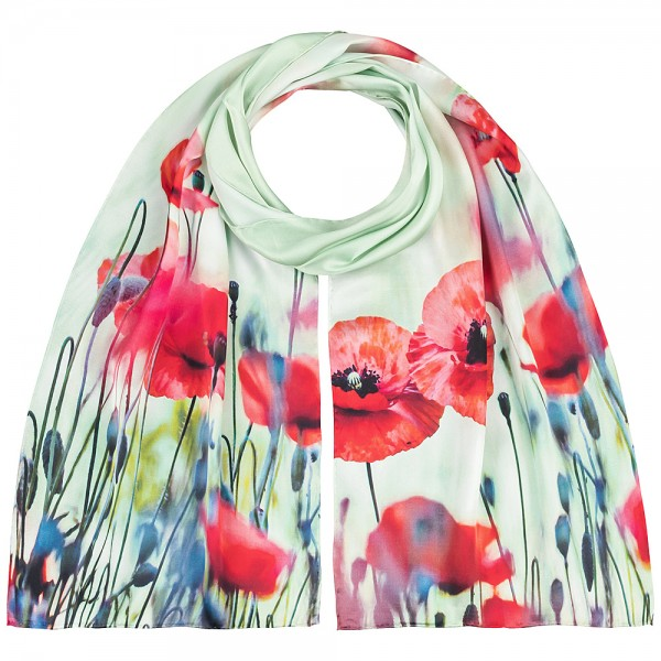 Long Silk Scarf Flowers Satin Poppies